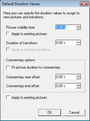 Default Time Options window