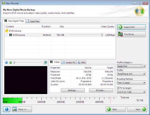 My Nero Digital Movie Backup
