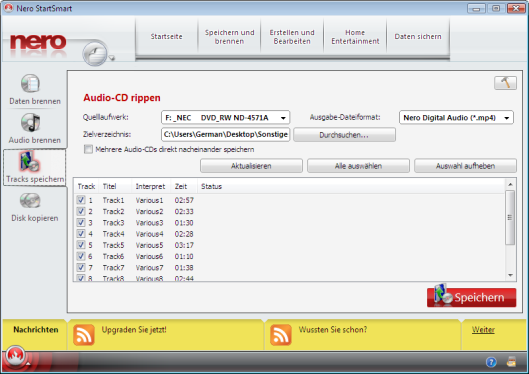 NSS_WIW_Ripping an Audio-CD screen with titels